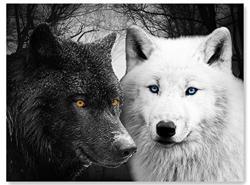 wandmotiv24 Leinwand-Bild Wölfe Schwarz & Weiß, Größe 120x90cm, Querformat, Wandbilder, Dekoration Wohnzimmer modern, Tiere, Raubtier, Nacht, Mond, Wild, Wald, Dunkel, Tier, Natur, Wolf, Deko M0103