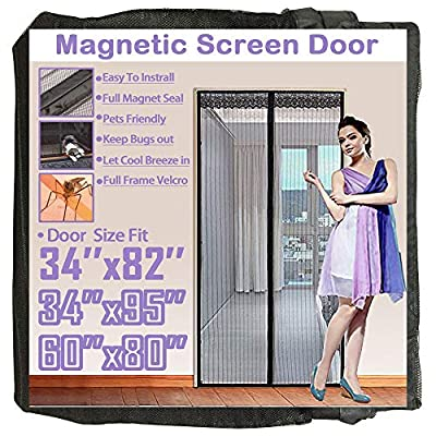 """TheFitLife Magnetic Screen Door Full Frame Hook and Loop Heavy Duty Mesh Fits Tall Door Size 34""""x95"""" Max"""