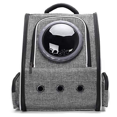 imyth Mochila expandible para gatos de piel sintética y tela de burbujas para perros pequeños, senderismo, viajes, camping, bolsa de transporte (tela de terciopelo, gris)