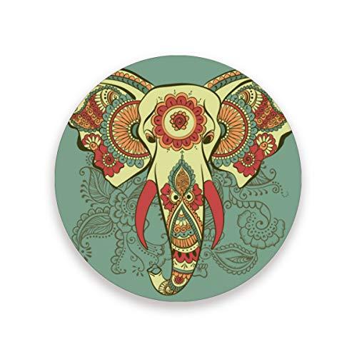 LUPINZ Henna Elephant On The Indian Pattern Cup Mat Isolierte, flexible Durable Anti-Rutsch Untersetzer feuchtigkeitsabsorbierend Untersetzer mit Korkboden, Holz, 1, 4 pieces set
