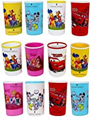 Perpetual Bliss Disney Theme Plastic Water and Milk Glasses/Return Gifts for Kids Birthday Party - Pack of 12