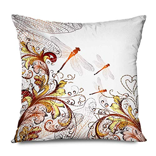 Retro Decorative Throw Pillows Cushion Cover for Bedroom Sofa Living Room Butterfly Flowers Patio Garden Summer Spring Floral Dragonfly Insects Furniture Pillowcase 20x20 Inch
