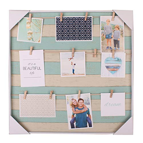 HANTAJANSS Clip Photo Holder, Photo Collage Frame, Large Picture Display Frame with 12 Wood Clothespin Clips for Hanging Home Decoration 20 ×20 inches Light Blue