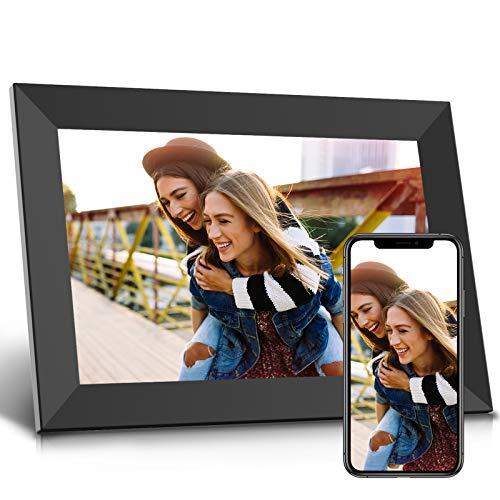 WiFi Digitaler Bilderrahmen, JEEMAK Elektronischer Bilderrahmen 10.1 Zoll mit IPS Touchscreen, Automatische Drehung, können Sie Fotos und Videos über Apps, E-Mail, Facebook, Twitter