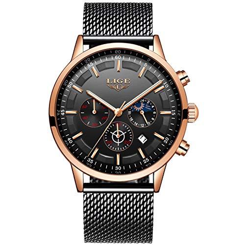 LIGE Herren Uhren Mode wasserdichte Chronograph Sport Quarz Uhr für Mann Business Kleid mit Gold Schwarzem Edelstahlgewebe 9877L …