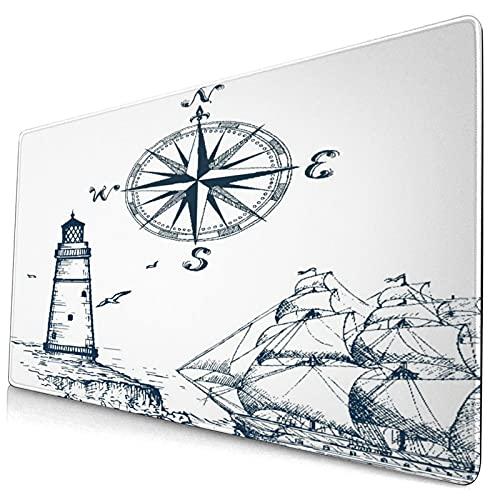 VINISATH Alfombrilla Gaming,Alfombra de baño viscoelástica,Faro náutico velero y brújula Estampado Azul Marino,con Base de Goma Antideslizante,750×400×3mm