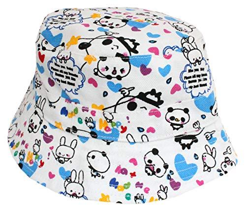 Chapeau de soleil en toile de coton panda avec sangle de menton pour bébé fille 6 mois jusqu'à 6 ans - Multicolore - Large
