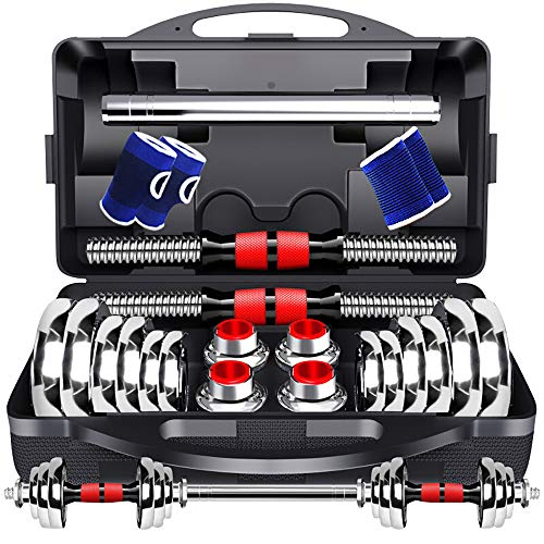 BERTER Dumbbells Set, Adjustable Fitness Free Weights Dumbbells with Connecting Rod for Gym Work Out Home Training, Suitable for Men and Women, 2 Pieces/Set