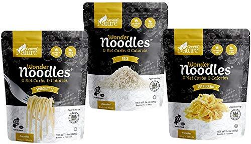 Wonder Noodles - Variety Pack, - Carb-Free, Keto Pasta - Gluten-Free, Kosher, Vegan, Zero Calories - ready to eat (Includes 14oz Spaghetti, 14oz Fettuccine, and 14oz Rice)