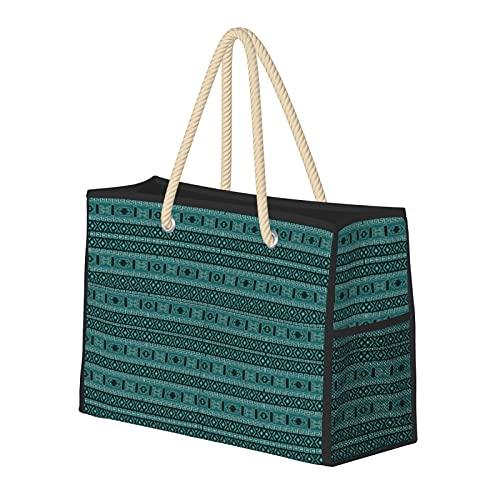 Bolsas de playa para mujer, color turquesa y negro, bolsa de viaje, bolsa de almacenamiento, bolsa de verano, bolsa de piscina, bolsa de hombro, para playa, viajes, gimnasio