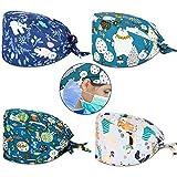 4 Piezas de Gorros de Colores Estampados Sombrero de Turbante de Bouffant Ajustable Gorras...