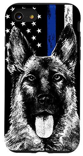 iPhone SE (2020) / 7 / 8 Thin Blue Line US Flag K-9 German Shepherd Police Dog Phone Case