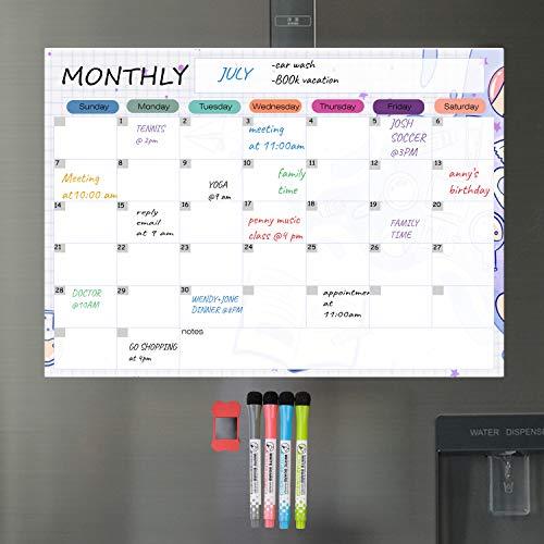 Dry Erase Calendar Kit- Magnetic Calendar for Refrigerator - Monthly Fridge Calendar Whiteboard with Extra-Thick Magnet Included Fine Point Marker & Eraser (Monthly)