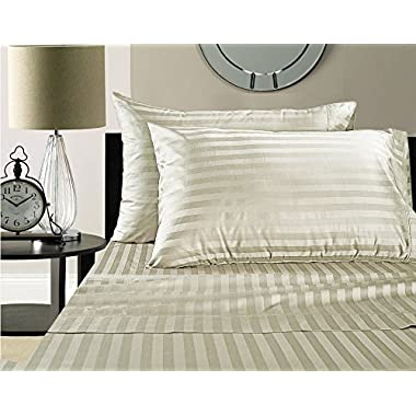 CHATEAU HOME COLLECTION Chateau Home Hotel Collection - Luxury 500 Thread Count 100% Egyptian Cotton Damask Stripe Deep Pocket Super Soft Sateen Weave Sheet Set, Mega Sale Lowest Prices, Queen-Ivory