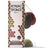 Éponge Konjac visage Lot de 3 - végétalien, biodégradable - Charbon de Bambou, Extrait de thé vert, |'Argile Rouge, pour tous les types de peau, végan exfoliante, Zéro Déchet, bio