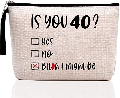 1980 40th Birthday Gifts for Women Funny Makeup Bag Is You 40 Gifts Ideas for Mom Wife Sister product image