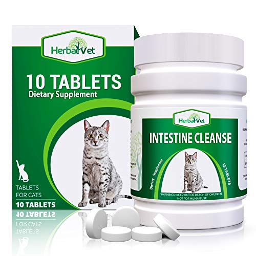 HerbalVet 10 Tablets Cat Intestinal Cleanse | Cat Dewormer Alternative | Cleansing Tablets for Cats, Promotes Intestinal Health | 4 Tablets, Works for Kittens | Helpful E-Book Included (10-Pack)