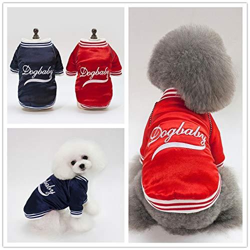 Eyxia- Pet Master Mode-Winter-Hundemantel kleidet Haustier-Jacke warme Baseball-T-Shirts aufgefüllter KleiderHoodie Welpe (Color : Blue, Size : M)