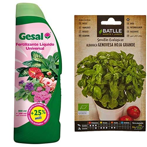 GESAL Fertilizante líquido universal, óptimo crecimiento de la planta, 1 L, 2675602011 + Semillas Batlle Ecológicas Aromáticas Albahaca Gigante Genovese ECO