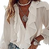 Charmlinda Camisa casual con cuello en V y volantes para mujer, manga larga, botones sueltos, blusa de gasa floral, blanco, L