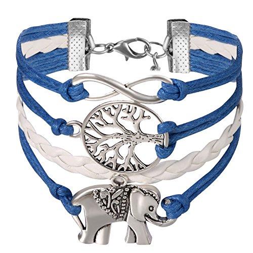 JewelryWe Schmuck Freundschaft Armband, Vintage Elefant Baum des Lebens Infinity Unendlichkeit Zeichen Leder Legierung Seil Charm Armreif Wickelarmband, Blau Weiß Silber