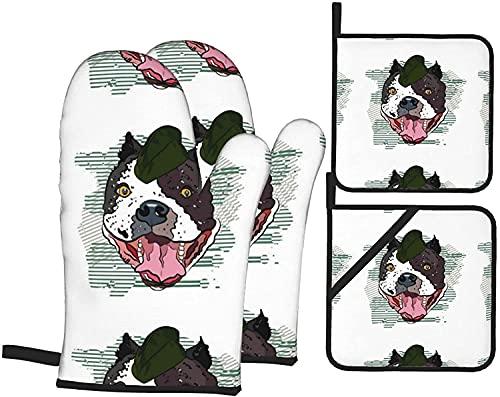 Bulldog en gorra de béisbol mitones y soportes para ollas, juego de 4 piezas, guantes de cocina resistentes al calor, guantes de microondas para hornear cocinar a la parrilla BBQ-Black-One S