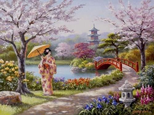cooldeerydm Ronde diamant borduurwerk landschap diamant mozaïek volle vorm diamant schilderij Japanse meisjes naar huis strass diamant schilderij ronde diamant 30 cm * 40 cm diamant tekening
