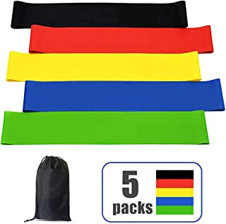 Blusea Resistance Loop Bands, Pack of 5 Latex Exercise Workout Bands with Carry Bag, for Strength Training, Home Fitness, ...