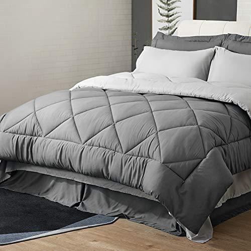 Bedsure Queen Comforter Set - 8 Pieces Reversible Bed Set Bed in A Bag Queen with Comforters, Sheets, Pillowcases & Shams, Grey Queen Bedding Sets