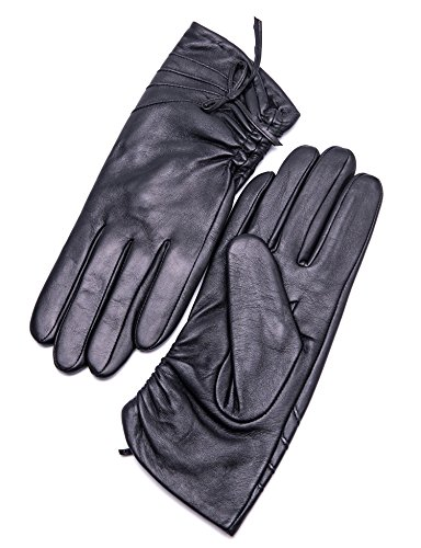 """YISEVEN Women's Winter Sheepskin Touchscreen Genuine Leather Gloves Fleece Lined Driving Dress Warm Fur Cuff Heated Thinsulate Lining Ladies Accessories Work Xmas Gift, Black Large/7.5"""""""