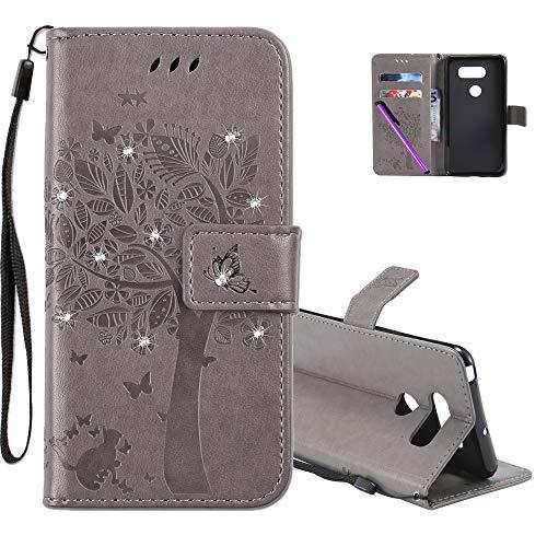 COTDINFOR LG V30 Hülle für Mädchen Elegant Retro Premium PU Lederhülle Handy Tasche mit Magnet Standfunktion Schutz Etui für LG V30 Gray Wishing Tree with Diamond KT.