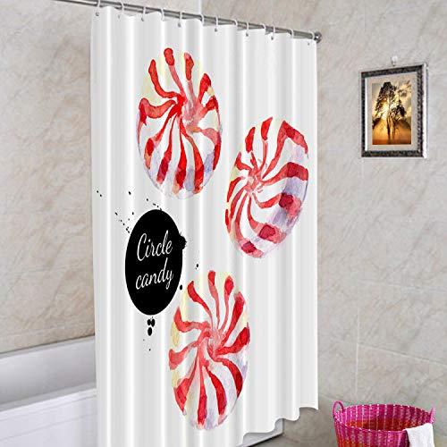 Batmerry Watercolor Christmas White dekorativer Duschvorhang, rot & weiß Pfefferminzwirbel Candy Duschvorhang niedlich lang breit für Badezimmer Bauernhaus Badewanne wasserdicht waschbar