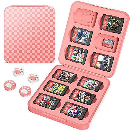 HEYSTOP Funda de Juegos para Nintendo Switch & Switch Lite hasta 12 Juegos de Nintendo Switch Organizador de Tarjeta, Estuche para Nintendo Switch Game Cards con Agarres para el Pulgar, Rosa