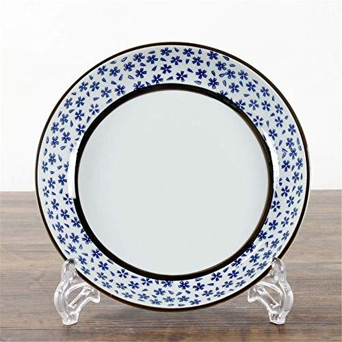 LILICEN Japonés Antiguo de cerámica de cerámica Placa Plato vidriado 8 Pulgadas de arroz Pintado a Mano Vajilla Cereza 21cm