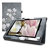 kwmobile Custodia Compatibile con Sony Xperia Tablet Z - Cover Tablet con Supporto - Copertina in Pelle PU Smart Case con Stand - Magnolie Marrone Grigio/Bianco/Grigio Scuro