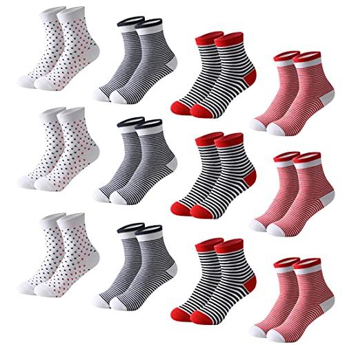 MOCOCITO 12 Paia Calzini Sneaker da Donna, Calzini Corti a Righe, Puntini, Calzini Sportivi Calze Carine Donna in Cotone, Calze alla Caviglia Comodo Rosso Taglia 35-40