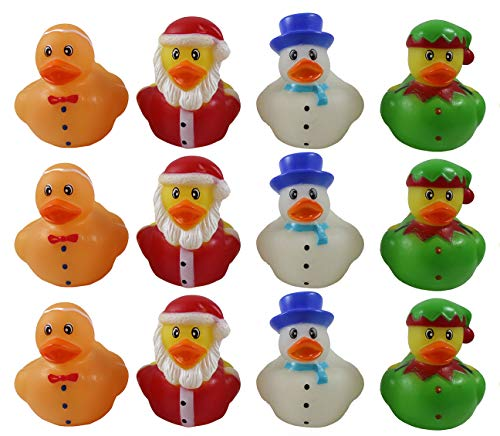 Curious Minds Busy Bags 24 Christmas Rubber Duckies - Santa, Gingerbread Man, Snowman, and Elf Ducks - Cute Holiday Party Favor Decoration Gifts (2 Dozen)