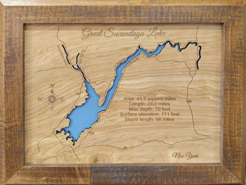 Great Sacandaga Lake, New York: Framed Wood Map Wall Hanging