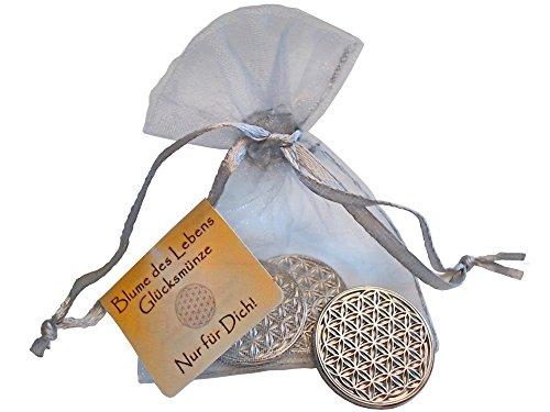 EnerChrom Blume des Lebens Glücksmünzen 3 Stück - Nur für Dich - Farbe Silber - 3er Geschenk Set Glücksbringer Lebensblume