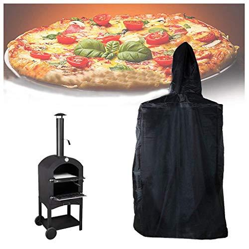 QMZDXH Cubierta para Horno para Pizza, 210D Oxford Fundas Protectora para Barbacoa Al Aire Libre con Cordón, Impermeable, Anti-UV, Negro