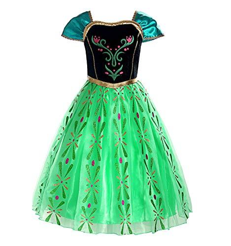 ReliBeauty Disfraz de Princesa Anna niña, Verde Manzana (5-6)