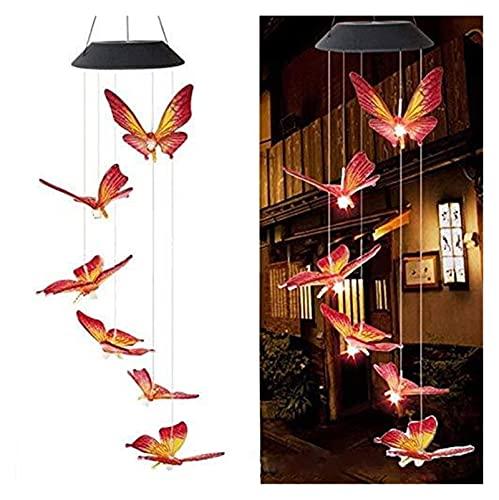 GYW Luz De Chime De Viento con Energía Solar, Cambiando De Color Mariposa Viento De Mariposa Luz Colgando Móvil Impermeable Chime Lámpara para El Hogar Patio Patio Jardín Decoración (Color : Red)