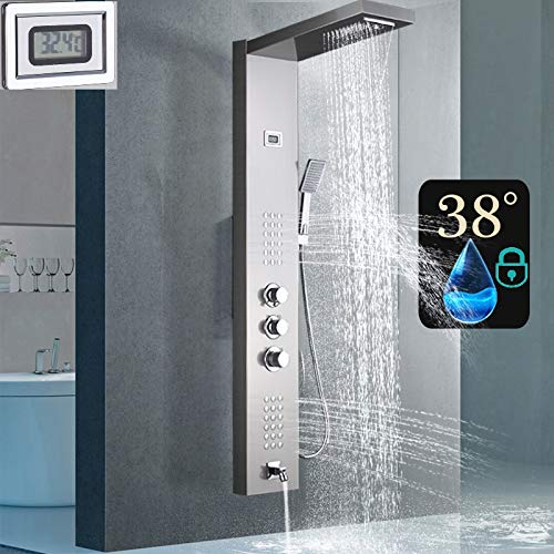 Duschpaneel mit Thermostat aus rostfreiem Edelstahl mit Temperaturanzeige und 36 kleinen Massagedüsen (Nickel gebürstet)