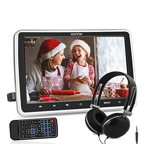 "WONNIE 10.5"" Reproductor de DVD para Reposacabeza de Coche 1080P Monitor para Niños HDMI In AV In/out Soporta SD/USB con Auriculares, Región Libre"