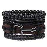 University Trendz Funky Multistrand Guitar Charm Leather Bracelet for Men and Boys