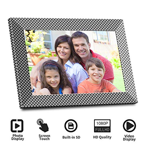WiFi Digital Picture Frame 10 Inch IPS Touch Screen HD Display 1280x800, 16GB Storage, Desktop Digital Frame & Wall Mount, Share Pictures and Small Video via App,E-Mail, Cloud -Black & Sliver Digital Frames Picture
