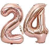 Feelairy 2 Ballon Numéros 24 Or Rose, 24 Ans Décoration Anniversaire, 40 Pouces Fête Ballons Numero 24 Géant Feuille D'Hélium Ballons Gonflable Chiffre Ballons pour La Décoration De Fête