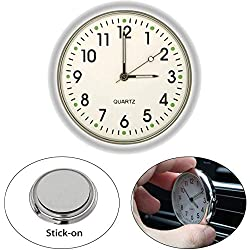 EEEKit Stick On Analog Car Clock, Mini Tiny Small Luminous Car Vent Clocks Watch for Dashboard Boat Bike Home (White)