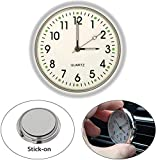 EEEKit Stick On Analog Car Clock, Mini Tiny Small Luminous Car Vent Clocks Watch for Dashboard Boat Bike Home (White)