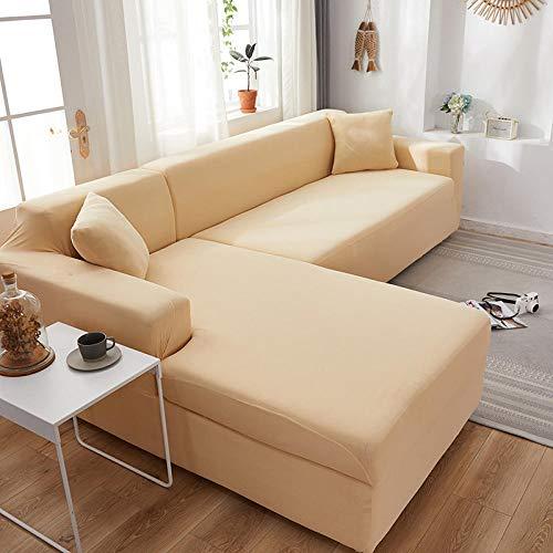 Fsogasilttlv Funda Estampada para sofá 2 plazas, Fundas elásticas de Licra, Funda de sofá, Toalla elástica para sofá, Fundas de sofá de Esquina para Sala de Estar, Crema